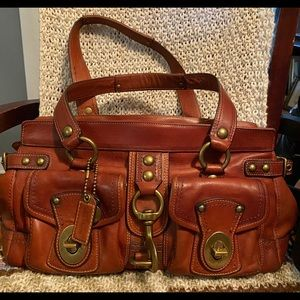 COACH Brown Distressed Leather Legacy Mandy Bag